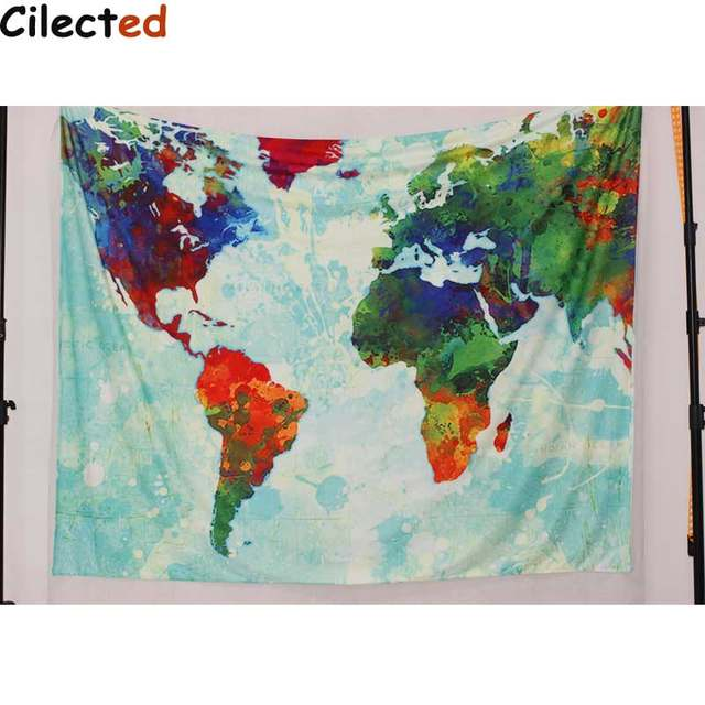 Online shop cilecte new world map printed mandala tapestry wall cilecte new world map printed mandala tapestry wall hanging hippie tapestry beach throw rug blanket boho wall carper beach towel gumiabroncs Gallery