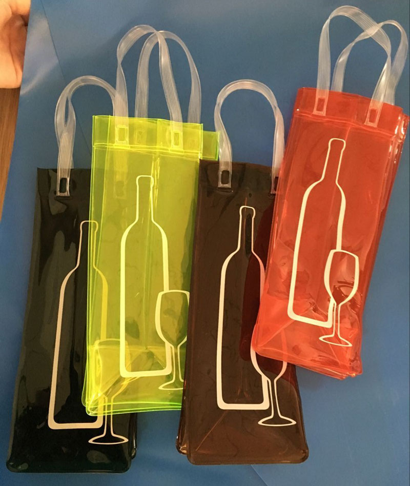 Free shipping wholesale 18pcs/lot PVC Ice Bag for Wine 11*11*27CM beverage handle bag food Bags Ice bags