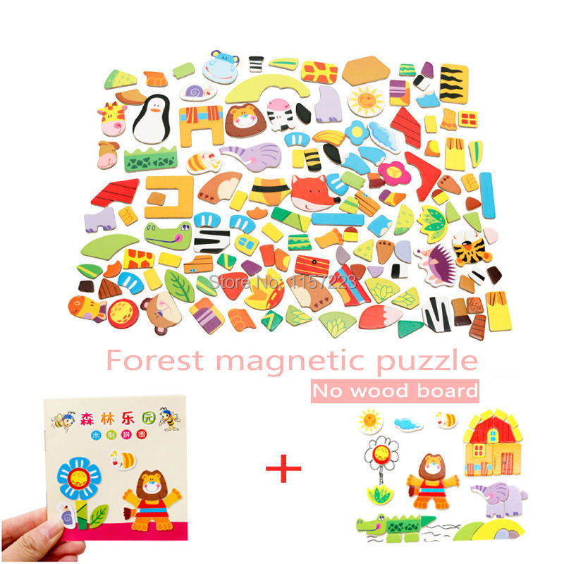 Animal Wooden Magnetic Puzzle Toys Farm Forest Cartoon Figure Educational Jigsaw Baby s Drawing Puzzles Easel