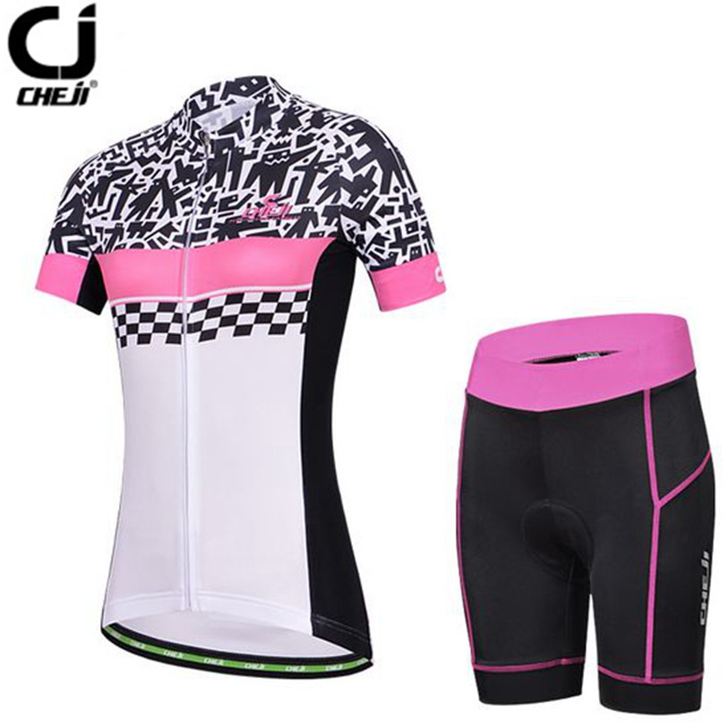 Hot CHEJI Women MTB Bike Jerseys Shorts Sets Female Pro Team Cycling clothing Suits White Summer bicycle Shirts Sportswear Top 2016 new men s cycling jerseys top sleeve blue and white waves bicycle shirt white bike top breathable cycling top ilpaladin