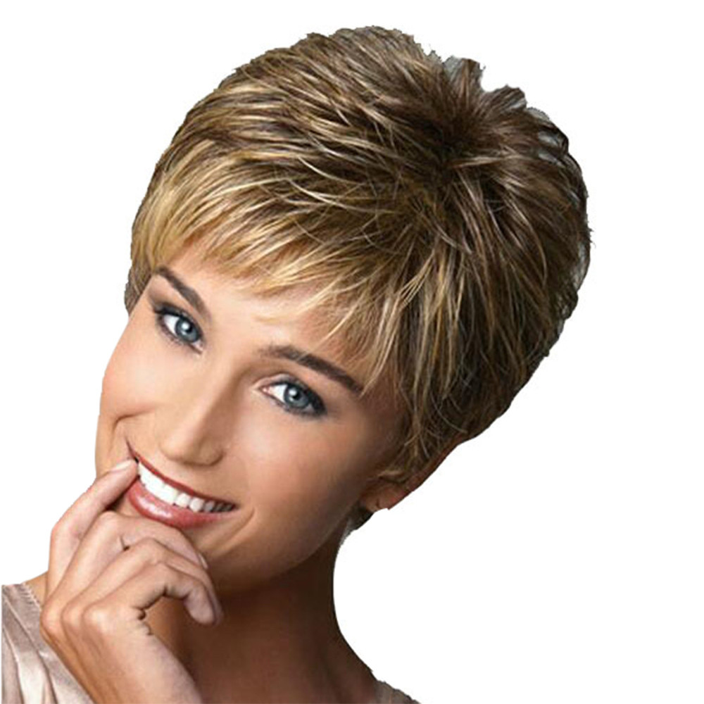 Fashion Short Wig Haircut Curly Color Gradient Wigs Short Human Hair Synthetic Wig Hair Styling 2m103 stylish short capless side bang synthetic fluffy brown highlight curly bump wig for women