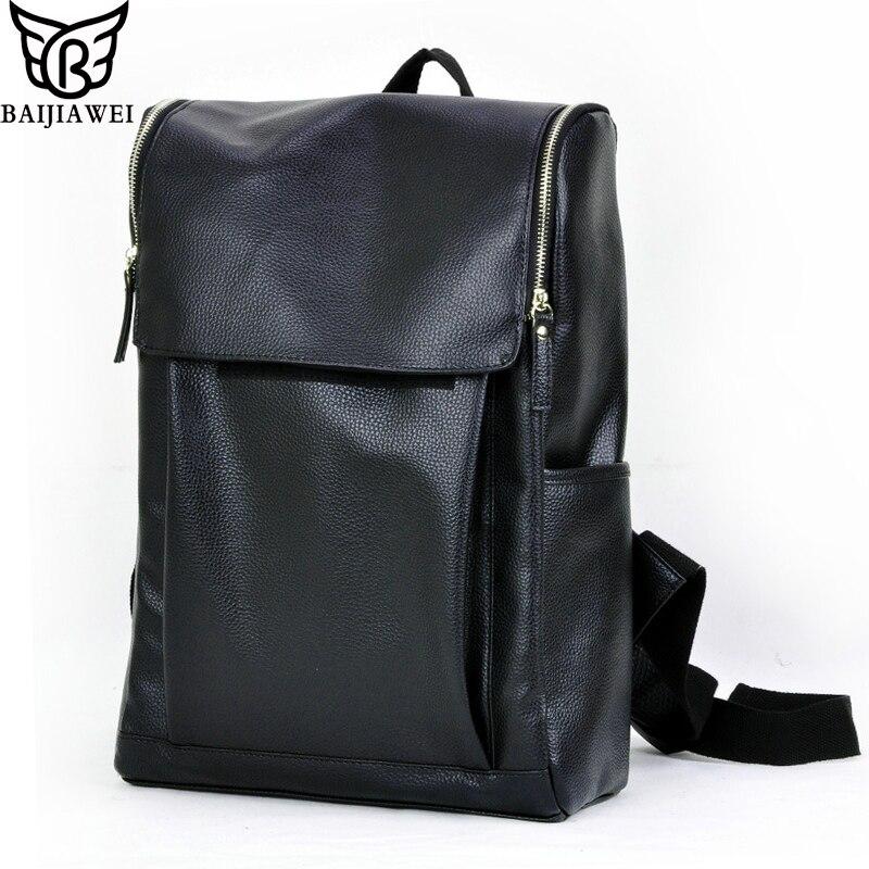 baijiawei mochila laptop mochila masculina Material Principal : Couro Envernizado
