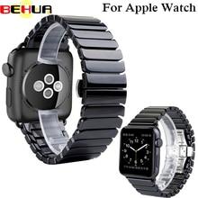 Ceramic Watch Band for Apple Watch 38mm 42mm Series 1 2 3 Link Bracelet Butterfly Buckle Black White Glossy Smart Watch Belt цена и фото