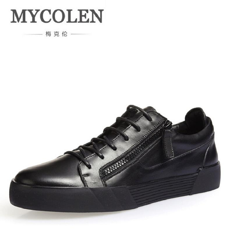 MYCOLEN Cow Leather Men Shoes Top Quality New Fashion Brand Black Casual Shoes High-Top Walking Shoes For Men Chaussure mycolen high quality men white leather shoes fashion high top men s casual shoes breathable man lace up brand shoes