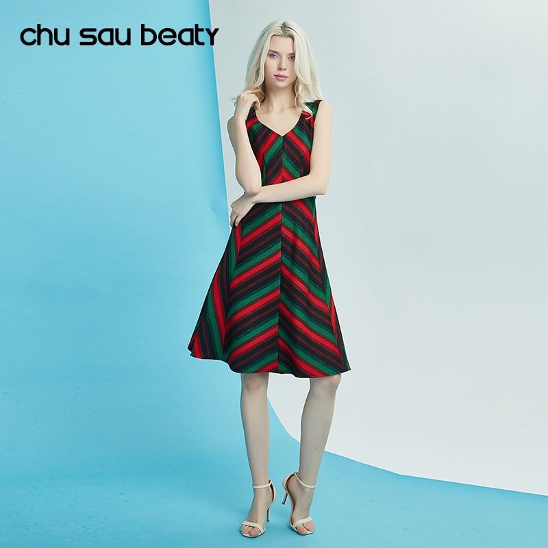 chu sau beauty  Summer Vintage Dresses Print Floral Casual A-Line Striped Sleeveless Knee-Length Tank Natural V-Neck vestidos