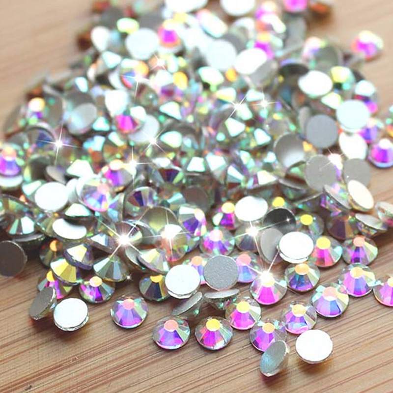 1-пакет SS3-SS40 Crystal AB Түсі Жылтыр Nail Art Rhinestones No Hotfix Flatback Strass Stone Nail Decorations DIY Маникюр Құралдар