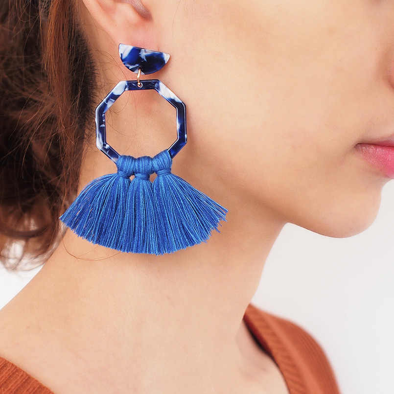 MANILAI Boho Handmade Cotton Tassels Earrings For Women Acrylic Statement Geometric Dangle Drop Earrings Brincos Jewelry