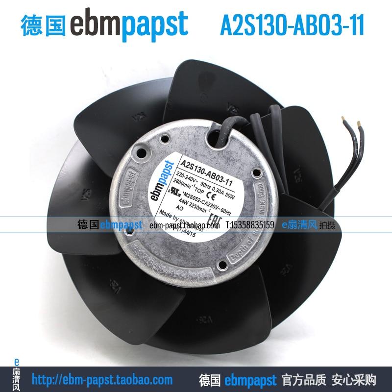 ebm papst A2S130-AB03-11 AC 220V 240V 0.3A 50W 130x130mm Outer rotor fan new original ebm papst a2s130 ab03 11 ac 220v 240v 0 3a 50w 130x130mm outer rotor fan