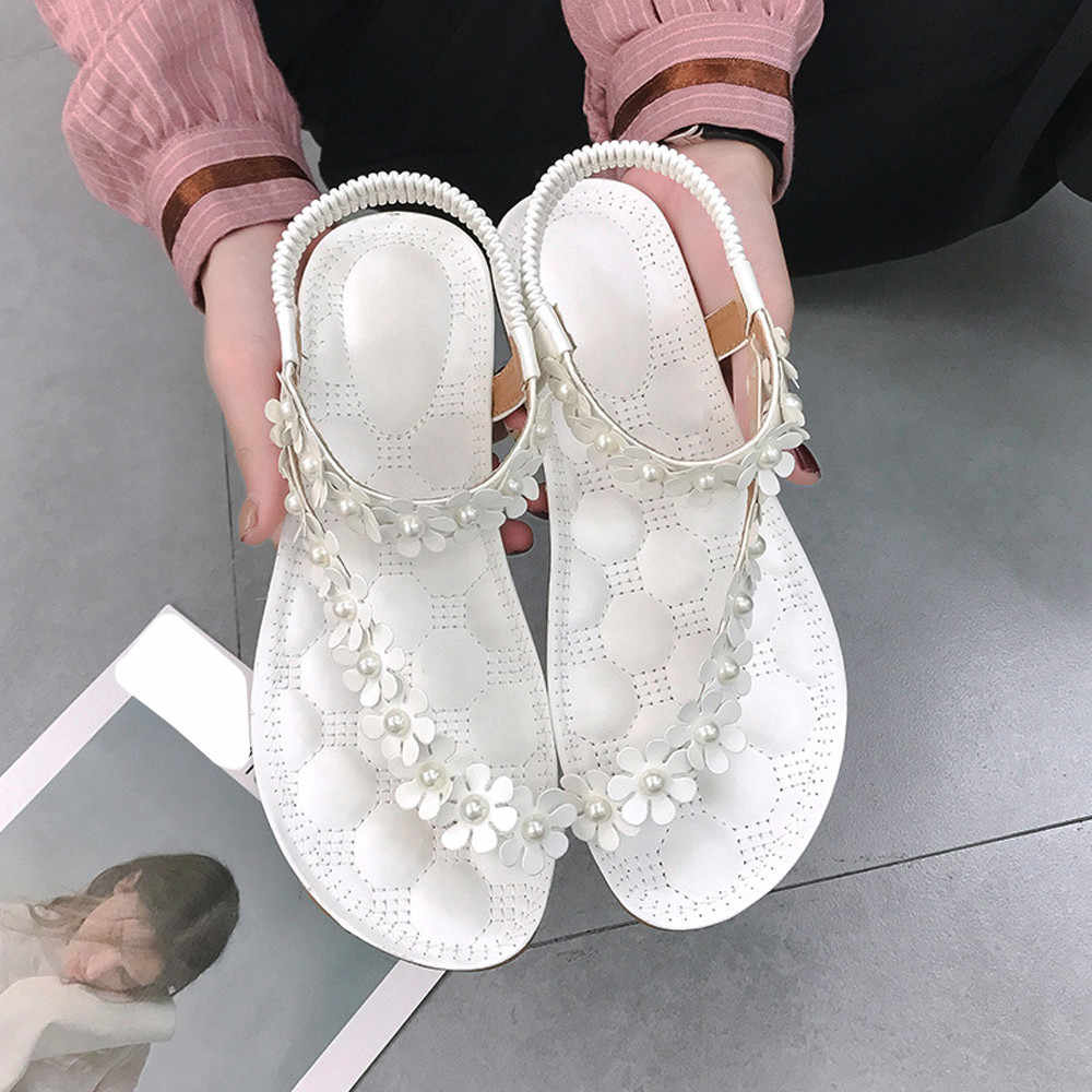 0444c67ebec5c9 ... zapatos mujer tacon Women Summer Bohemia Flower Beads Flip-flop Shoes  Flat Sandals zapatillas mujer ...