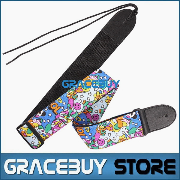 Guitar Strap Electric Acoustic Bass Personalized Adjustable Nylon Cartoon Folk Guitarra Straps New 12pcs irin adjustable guitar strap for electric acoustic folk guitar coffee