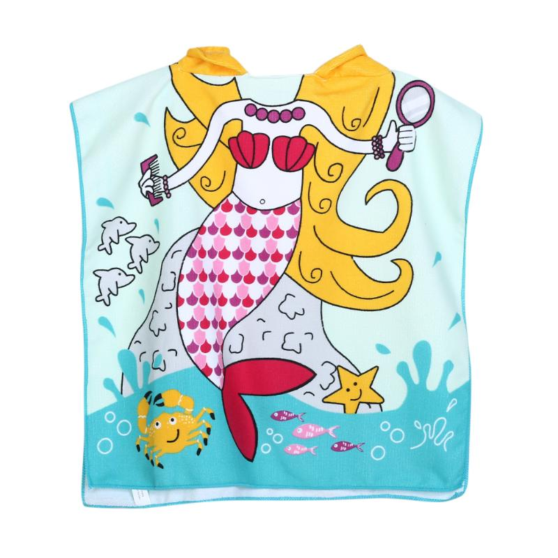 Fish Pattern Children Beach Towel Cartoon Hooded Boys Girl Baby Bath Towel