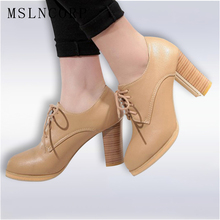 Plus Size 34-43 Fashion spring autumn Dress Ladies Pumps Lace-up Square heel women Shoes Round Toe handmade party Casual Shoes asumer big size 34 43 round toe spring autumn new women pumps lace up square heel platform ladies shoes super high heels shoes
