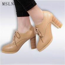 цена на Plus Size 34-43 Fashion spring autumn Dress Ladies Pumps Lace-up Square heel women Shoes Round Toe handmade party Casual Shoes
