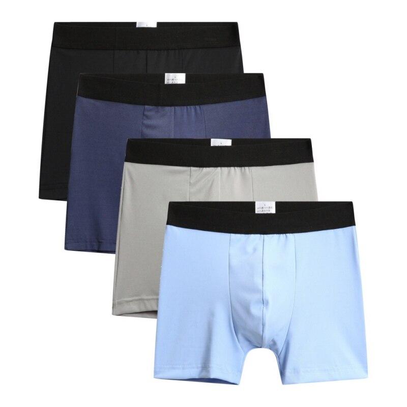 4 Pcs A Lot Men's Boxer Underwear Pants Cotton Men Shorts Loose Calecon Pour Homme Mens Boxers Long Leg Solid Colors(China)