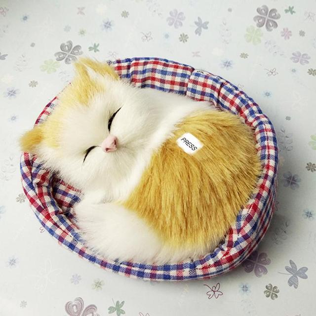 Lovely Simulated Sleeping Kitten Cat Plush Toys With Sound Birthday Doll Decorations Stuffed Kidstime