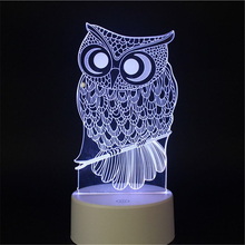 LED 3D Owl Night Light Touch Table Desk Lamps 7 Colors Changing Millenium Falcon UFO spacecraft Decor Lights for children gifts