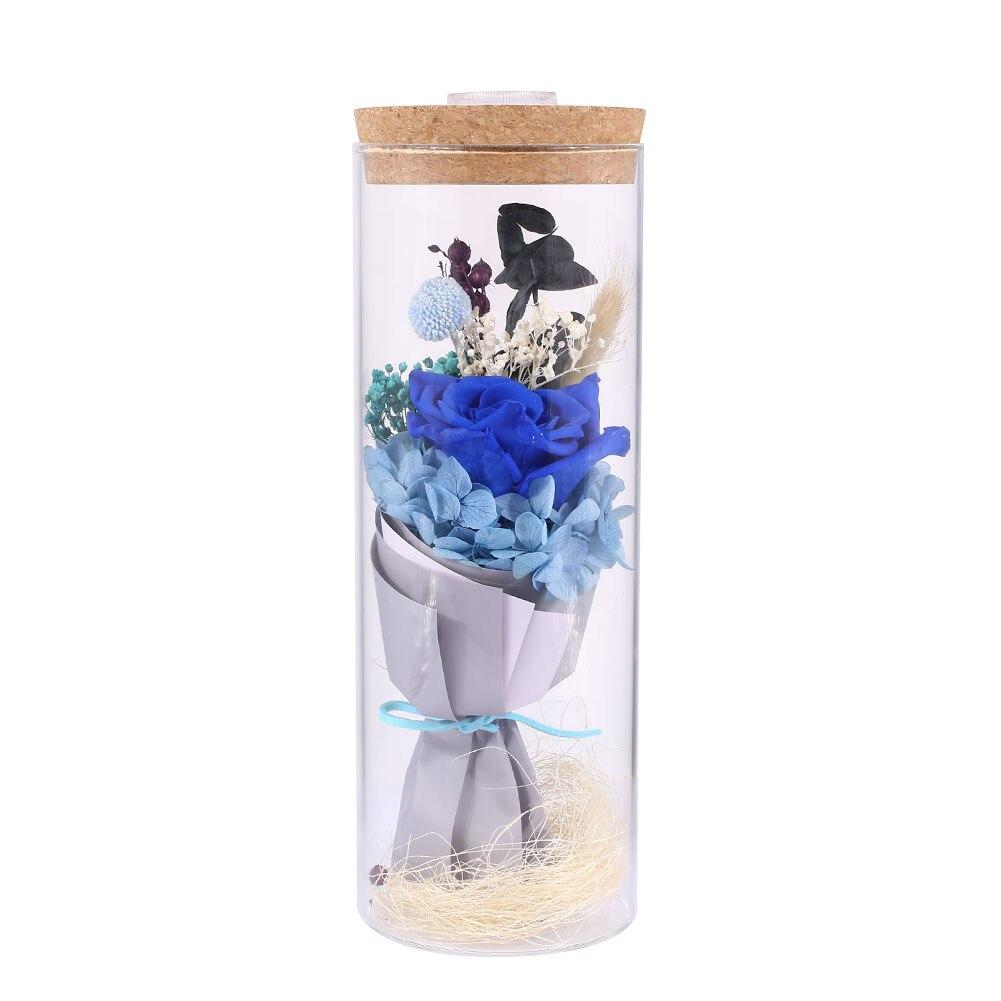 Forever Rose Flower розовое стекло покрытие декор с цветами розы декоративные красивые сохраненные свежими цветок светодиодный Блеск - Цвет: Blue