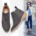 2016 Novas Mulheres botas Chelsea Inverno Quente Sapatos Botas Curtas Mulher Vaias Martin Genuínos das Mulheres de Couro 35-40