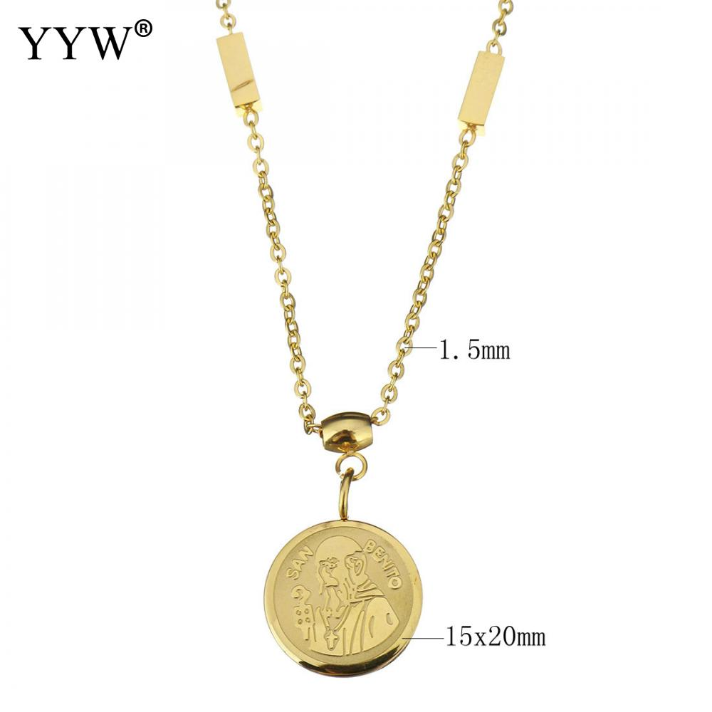 Vintage Stainless Steel Jewelry Necklace chain Flat Round old man plated gold color plated Necklace 15x20mm 1.5mm