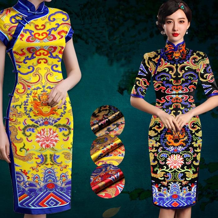 118*120 cm de large 19mm 93% soie et 7% spandex dragon cloud imprimer tissu de satin de soie extensible pour robe chemise vêtements cheongsam D825