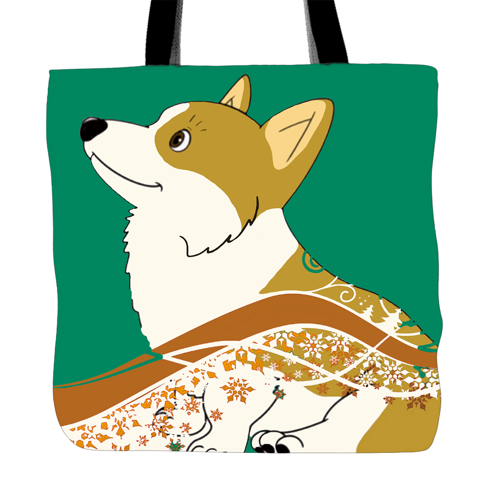Corgi Dog Printing Tote Bag For Shopping Food Convenience Women White Canvas Hand Bags Two Sided Printed