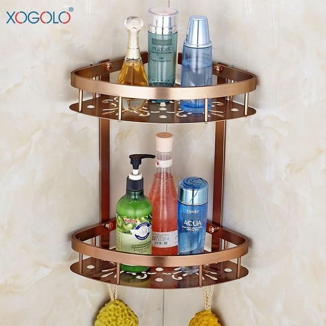 Hot S Bathroom Corner Shelf Dual Tier Aluminum Shower Basket Rose Gold Shelves Accessories Good