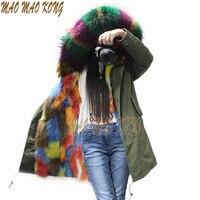 Russian style women hooded fur parka jacket multi color fur parka