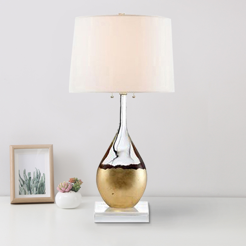 Modern minimalist luxury glass bottle crystal Table Lamps decorative living room bedroom study bedside cloth lampshade