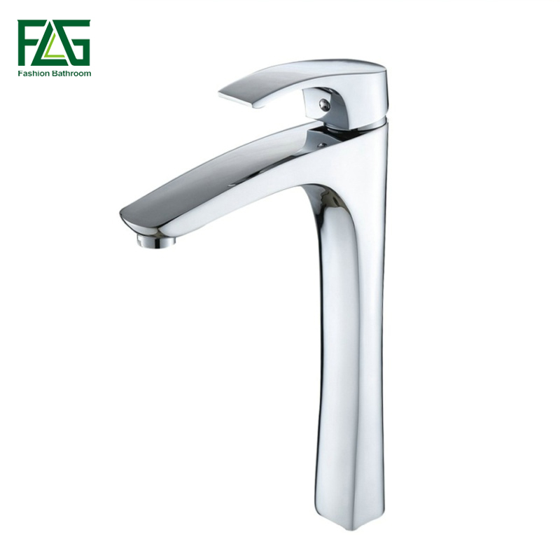 FLG New Arrival Solid Brass Basin Faucets Cold and Hot Water Tap Heightening Bathroom Sink Faucet Single Handle Mixer Tap 100004 flg luxury basin faucet bathroom sink mixer golden finish cold and hot brass tap water faucet single handle basin mixer tap m088