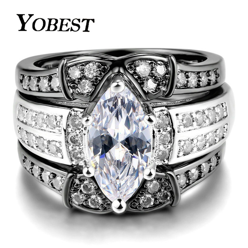 Yobest Wedding Ring Set For Women Classic Princess Cut Cubic Zirconia 3 Rings Set Silver Color Party Gift