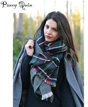 Марка Женщины шали осень зима классические модели Кисточки Плед Длинные Повседневная Пончо двусторонняя решетки шарф женский шарф B-53