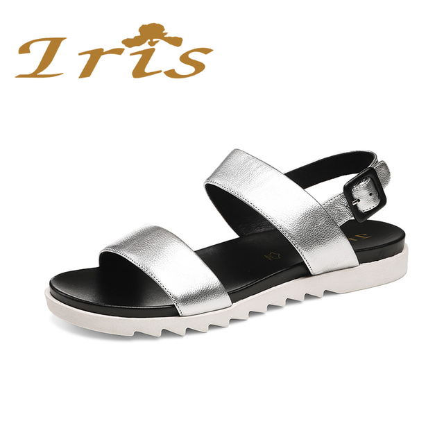ed270be2e617 IRIS Flat Sandals Silver Women Casual Comfortable Soft Leather Buckle Back  Strap Sandalias New Summer Russian Size