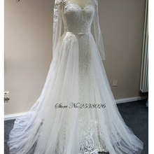 Liyuke Elegant Scoop 2 In 1 Wedding Dress With Full Sleeve