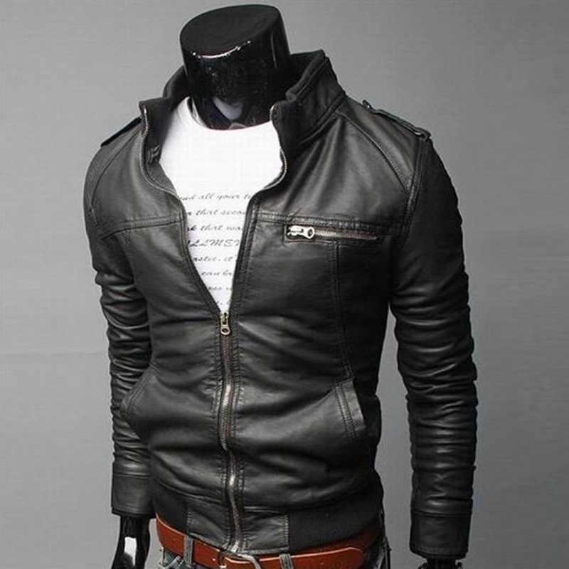 摩耗男機関車春秋のパターン服ルーズコート男性の革のジャケット