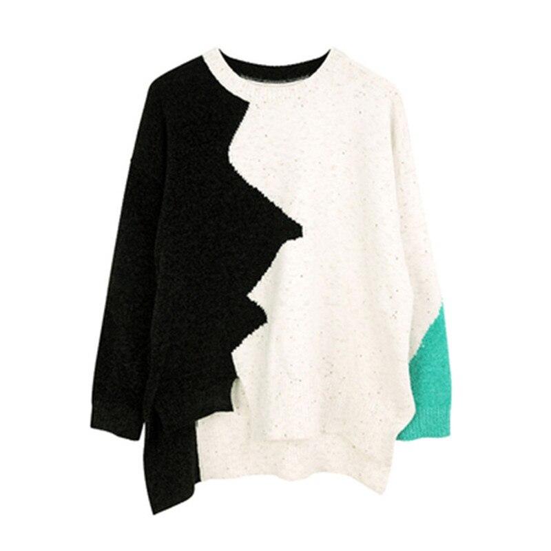 À amp; 100 De La Tricot Fait Green Irrégulière Oneck Black Femmes Sur One Taille Patchwork White Main Hem Mode Polyester Pull 44rwZ5q