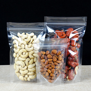 1000Pcs Wholesale Clear Stand Up Plastic Zip Lock Food Storage Package Bag Heat Seal Nut Dried Fruit Zipper Packing Bag 10 Sizes