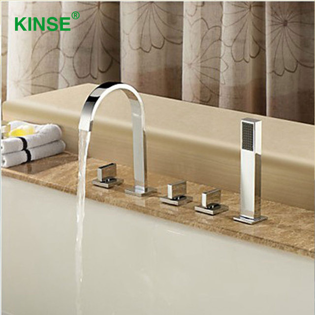 KINSE Brass Material Five Piece Bathtub Faucet Contemporary Style ...