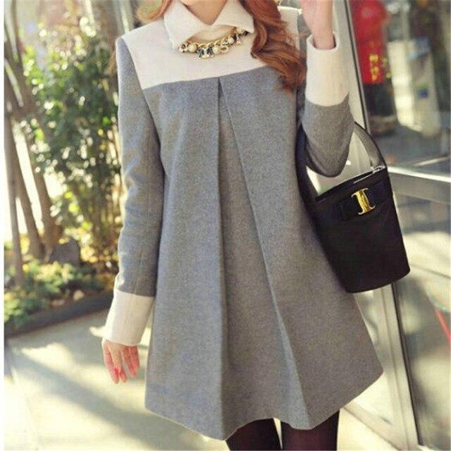 1adeabcd3 De gran tamaño de Cuello Alto Vestido de Manga Larga para Las Mujeres  Embarazadas Ropa para