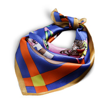 53 53 Nouveau femmes petit satin 100% pur soie carré écharpe cheval  impression foulards en soie de luxe de haute qualité dame ba. 329db3507f6