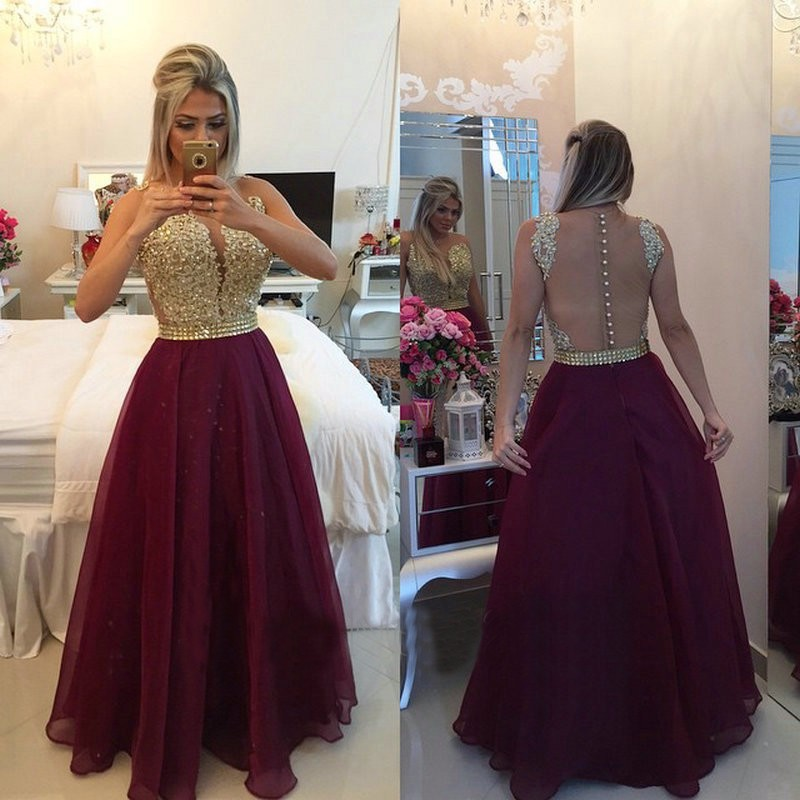 New See Through Back Burgundy   Evening     Dresses   Long Chiffon Pink Champagne Lace Applique Formal Gowns 2017
