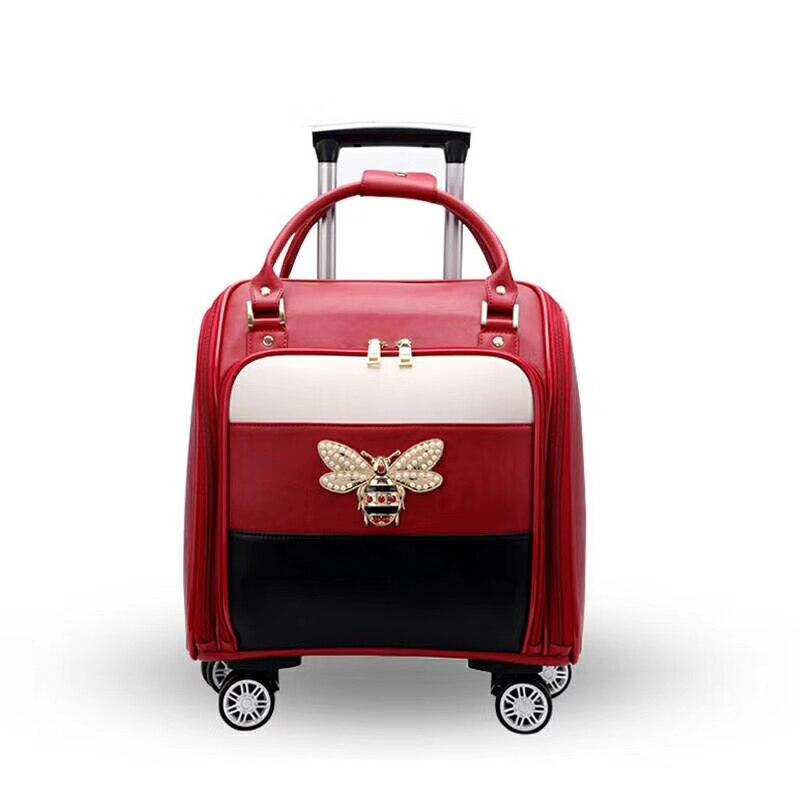 """VIAGGIO RACCONTO 2018 valigia di cuoio delle donne di portare avanti custodia da viaggio dei bagagli 16 """"cabina borsa da viaggio-in Valigia a rotelle da Valigie e borse su  Gruppo 1"""