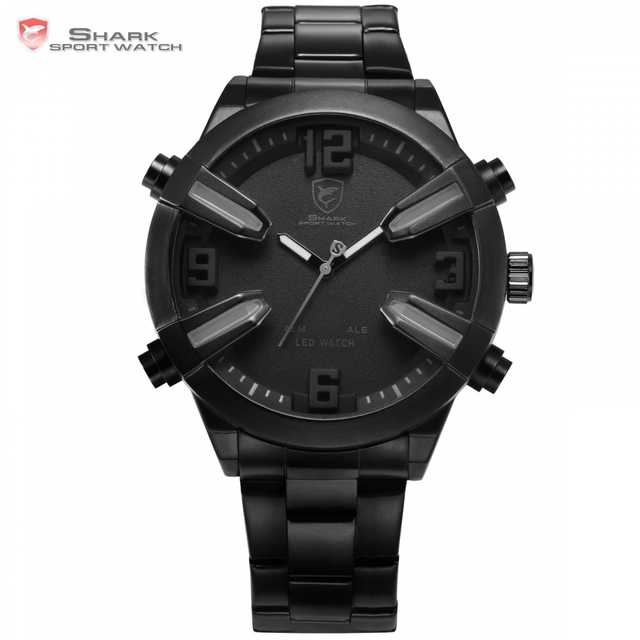 Dogfish Shark Sport Watch Full Black Date Alarm LED Grey Hands Stainless Steel Strap relogio Mens Gent Digital Watch Gift /SH324
