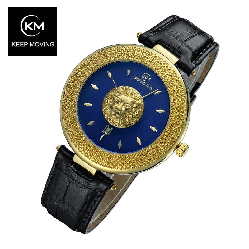 Głowa lwa zegarka kobiet wzrosła złoty zegarek mężczyźni Top znane marki luksusowe Casual skórzany zegarek kwarcowy Relogio Masculino mężczyzna zegar w Zegarki kwarcowe od Zegarki na  Grupa 1