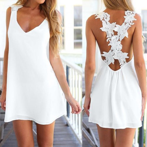 hot sale <font><b>2015</b></font> new arrival Women <font><b>Sexy</b></font> V Neck Backless Lace Crochet Chiffon Summer Beach Mini Dress UK8-10 D image
