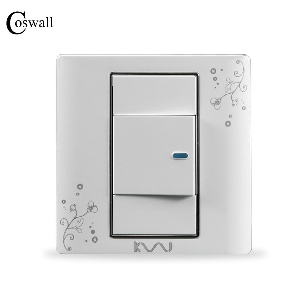 COSWALL Luxury Wall Switch 1 Gang Intermediate Switch Brief Art ...
