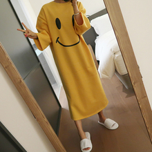 Brief Women dress Loose Lovely Smiling Comfortable Fleece 5995 At Home Dresses Yellow 1785