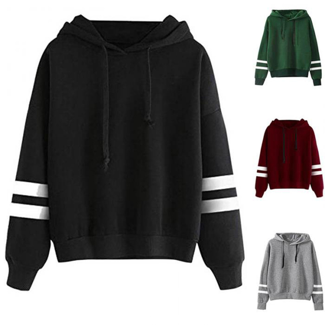 Fashion Autumn Winter Women Sweatshirt With Hat Drawstring Long Sleeve Striped Splicing Hoodies Ladies Girls Pullover FS