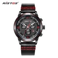 New RISTOS Quartz Men Watch Casual Genuine Leather Watches Reloj Masculino Wristwatch Luxury Reloj Hombre Montre