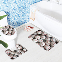 3pcs Baseball Bathroom Mat Set Vintage Baseballs Anti Slip Bath Mat And Toilet Mat Soft And