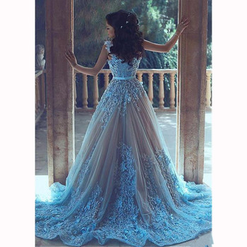 Turquoise Muslim Evening Dresses 2019 A-line Long Sleeves Tulle Flowers Formal Islamic Dubai Saudi Arabic Long Evening Gown Prom